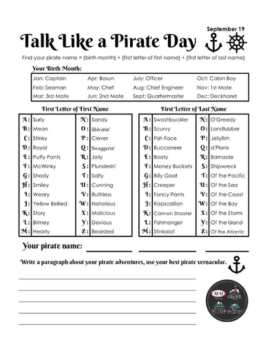 Talk Like A Pirate Day (9/19)