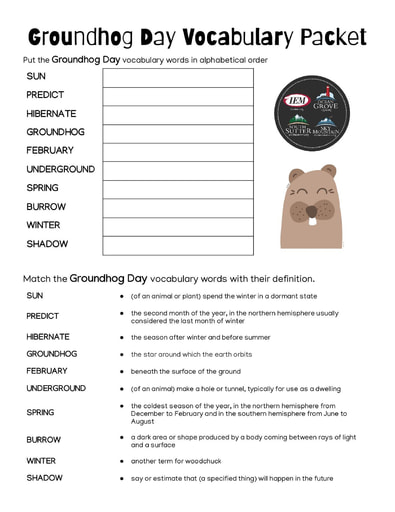 Groundhog Day Vocabulary Packet (2/2)